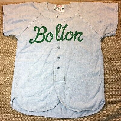 """1970's Vintage Wilson Baseball Jersey """"Bolton"""" Sz 40 Wool Blend Made In USA"""
