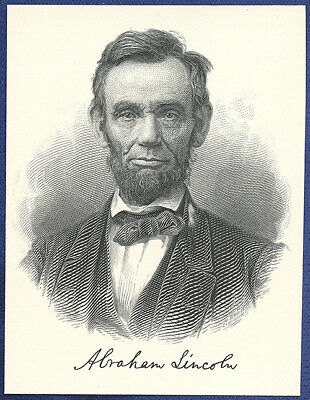 AMERICAN BANK NOTE Co. ENGRAVING: PRESIDENT ABRAHAM LINCOLN (BLACK)