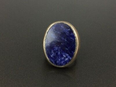 Vintage Mexico Sterling Silver Lapis Blue Stone Ring Size 6.5