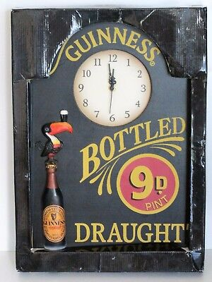 NEW Guinness Draught Wooden Pub Clock Sign - RARE