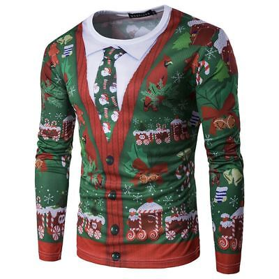 Men Christmas Tree 3D Printing Long Sleeve Casual T-Shirt Tops Tee Xmas Shirts
