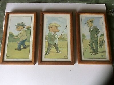 3 Vintage  Framed Golf Caricatures By 'mel' Of Famous Golfers
