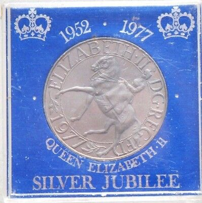 1977 UK CROWN--SILVER JUBILEE-- UNCIRCULATED in HOLDER--NO RESERVE