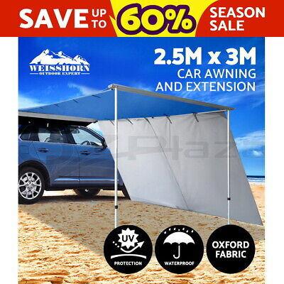 3M X 2.5M Car Side Awning Extension Roof Rack Cover Tents Shades Camping 4X4 4WD