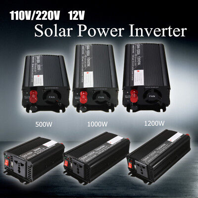 500W-1200W Solar Power Inverter 12V To 110V/220V AC Modified Sine Wave Converter