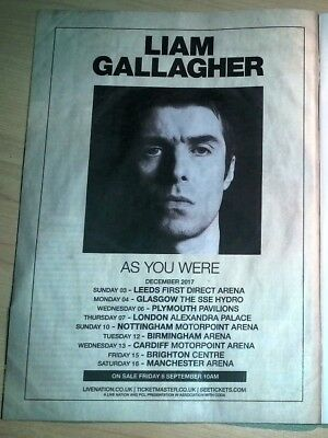 LIAM GALLAGHER (OASIS) 2017 Tour magazine ADVERT / Poster 11x8 inches