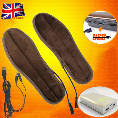 Rechargeable Heated Insoles Foot Warmer USB Charging Heat Boots Shoes Pad UK