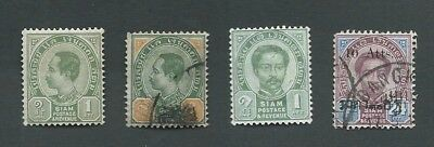 1887-99 Thailand, 4 Different King Chulalongkorn Definitive Stamps. Gu/mh