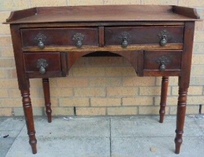 Victorian Style Solid Wood Knee Hole Brown Writing Desk  - S87