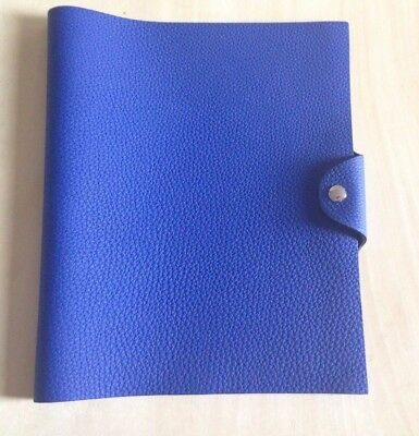 Hermes leather notebook cover Ulysse MM Bleu Electrique - gently used