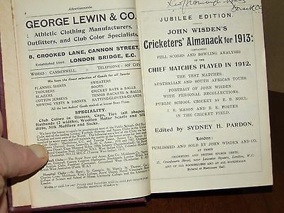 Wisden Cricketers' Almanack 1913 Rebound in boards EXCELLENT cond.