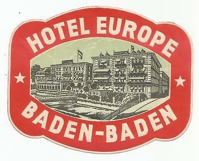 HOTEL EUROPE luggage GERMANY label (BADEN-BADEN)
