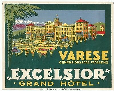HOTEL EXCELSIOR luggage DECO label (VARESE)