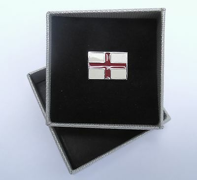 "ENGLAND FLAG - LAPEL PIN ""ENGLAND'S CROSS OF ST. GEORGES"" 20mmx13mm METAL in BOX"