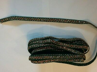 5mtrs of 10mm green braid with multicoloured insert