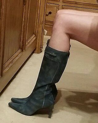 BN  Faith 100 % leather boots size 4 very fetish mistress, sexy rear zip
