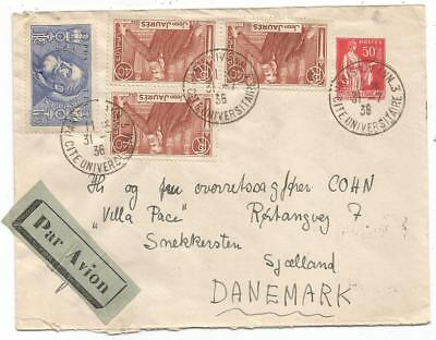 Jaures 40Cx3+1Fr50 S /entier Cover 50C Paix Paris Xiv 31.7.1936 Avion Danemark