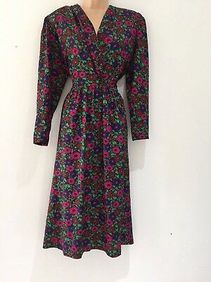 Vintage 80's Navy Blue Pink & Green Floral Print 40's Style Day Dress Size 10