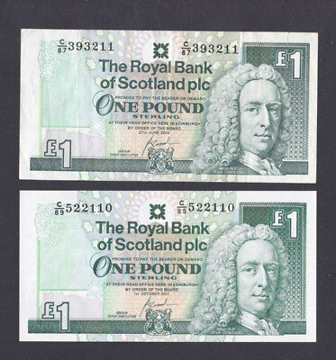 SCOTLAND - 2 X £1 Banknotes RBS - Goodwin - 2000 & 2001 Pack#2513 - LOOK!!!