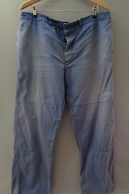 Vtg French faded indigo blue hobo HBT cotton work trousers cinch chore pants