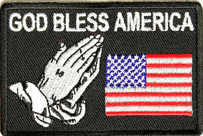 God Bless America US Flag With Praying Hands Embroidered Biker Patch