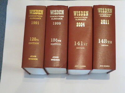 Wisden Cricketers' Almanack 1991, 1999, 2004 and 2011 (4 editions)