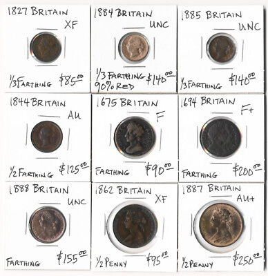 9 BRITISH COPPERS (1675-1888) 1/3 FARTHING to HALF PENNY CV $1280 ## NO RSRV ##
