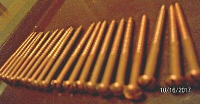 "20 Big 2 1/2"" - Vintage Solid Bronze Wood Screws With Round, Reg. Slot Head's,"