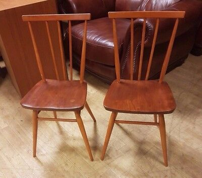 Pair Of ERCOL 391 WINDSOR Solid Wood Golden Dawn Stacking Chairs - W74