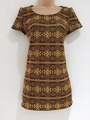 Vintage 70's Brown & Yellow Mix Abstract Print Short Sleeve Tunic Style Top 10