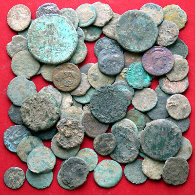 Lots of 80 uncleaned Maiorina AE3 AE4 Poor Junk - ancient Roman coins
