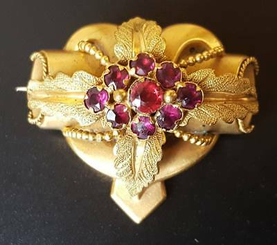 Antique Victorian Pinchbeck And Ruby Paste Brooch Pin