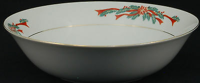 Tienshan Fairfield Poinsettia & Ribbon Round Vegetable Bowl