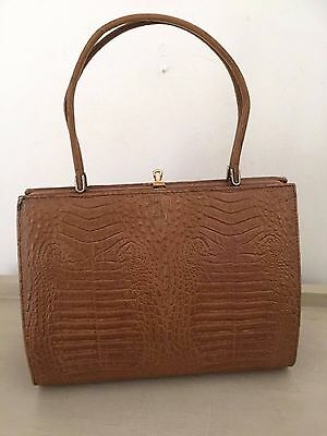 Vintage 1960's Mod Tan Brown Genuine Alligator/Crocodile Skin Kelly Handbag