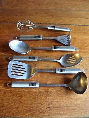 6 Piece Selecion Of Stainless Steel Kitchen Utensils