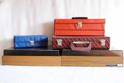 Vintage 5 X Assorted 1970's  Cassette Tape Storage Cases.hinged/portable