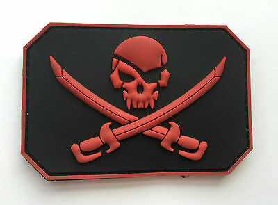 1Pcs Liberty Or Death Skull Cross Swords Tactical Pvc Patch  Aa + 17