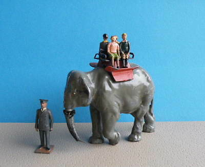 Britains 54mm Lead Zoo Models - Elephant Ride with Howdah + 4 Children + Keeper