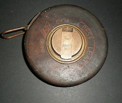 Old Leather TAPE MEASURE  BEST LEATHERCASE  FLAG Brand Made in Germany