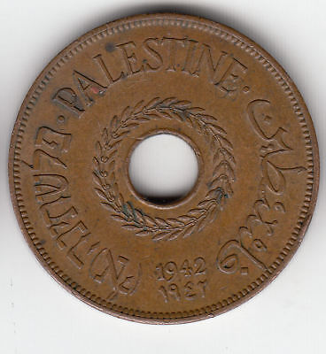 Palestine 20 Mils 1942 Copper Scarce         35A         By Coinmountain