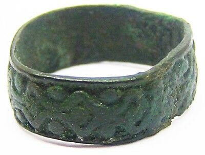 Nice Tudor Period Bronze Decorated Finger Ring Wide Posy Type Band 16th century