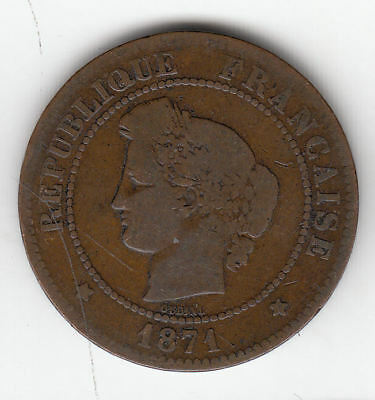 France 5 Cents 1871 Copper        52A      By Coinmountain