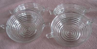"Four Anchor Hocking Manhattan Horizontal Ribed 4.5"" Handled Sauce Bowls"