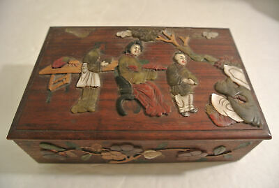 RARE Chinese Wood Inlay FIGURES FLOWERS Hand Carved Shell Stone Jade Coral BOX