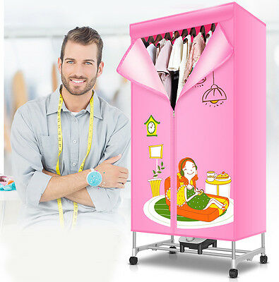 Pink Portable Home Energy-saving Rotary Control Panel Electric Air Clothes Dryer