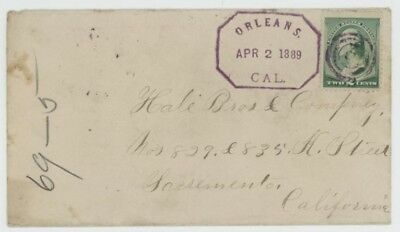 Mr Fancy Cancel 210 FANCY CANCEL COVER HEX ORLEANS CAL 1889 DATE STAMP TINY TOWN