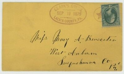 Mr Fancy Cancel 3cG FANCY CANCEL COVER CALRK'S GREEN LACK'A COUNTY PA OVAL STAR