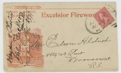 Mr Fancy Cancel 2c ILLUSTRATED AD COVER EXCELSIOR FIREWORKS CO PROVIDENCE RI '96
