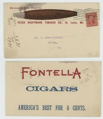 Mr Fancy Cancel 2c ILLUSTRATED 2-SIDED AD COVER HAUPTMANN FONTELLA CIGARS 1905