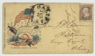 Mr Fancy Cancel 65 CIVIL WAR PATRIOTIC SHAKING HANDS FLAG UNION MUST HALIFAX PA